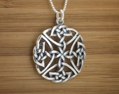 Celtic Shield Knot Pendant - STERLING SILVER - (Pendant, or Necklace)
