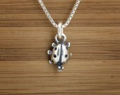 Tiny Ladybug Charm - STERLING SILVER - (Charm, Necklace, or Earrings)