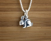 Tiny Bunny Rabbit - STERLING SILVER - 3D Double-sided - (Charm, Necklace, or Earrings)