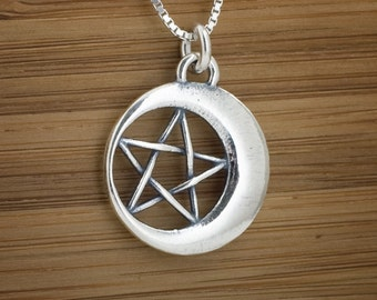 Pentacle in the Moon - STERLING SILVER - Double Sided -  (Pendant, or Necklace)