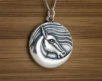 Wind Horse Pendant - STERLING SILVER - (Pendant, or Necklace)