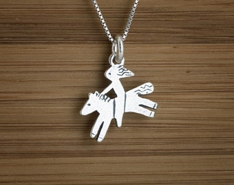 The Galloping Girl - Pony and Rider - STERLING SILVER - (Charm, Necklace, or Earrings)