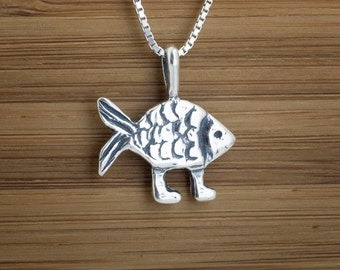 Darwin's Fish - STERLING SILVER - (Pendant, or Necklace)