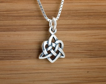 Little Celtic Heart Trinity Knot - STERLING SILVER - (Charm, Necklace, or Earrings)