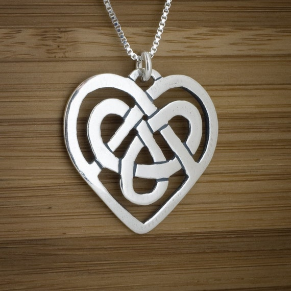 Large Celtic Heart Pendant - STERLING SILVER - (Pendant, or Necklace)