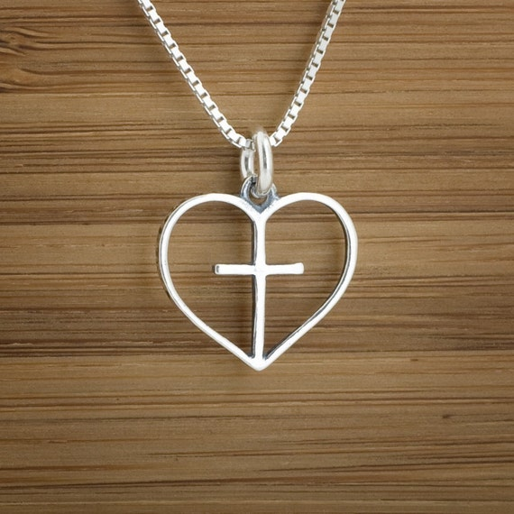 Heart and Cross - STERLING SILVER - Double Sided - (Charm, Necklace, or Earrings)