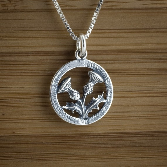 Scottish Thistle - Double Sided - STERLING SILVER - (Charm, Necklace, or Earrings)