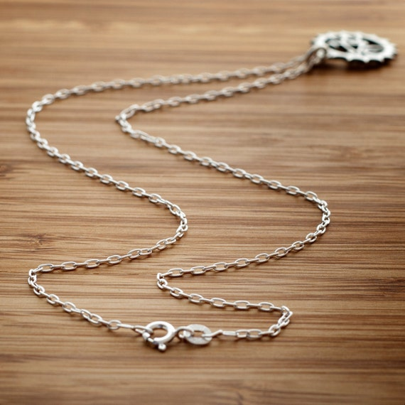 16 Inch Sterling Silver Cable Link Chain (Just the chain - Bike Charm sold separately)