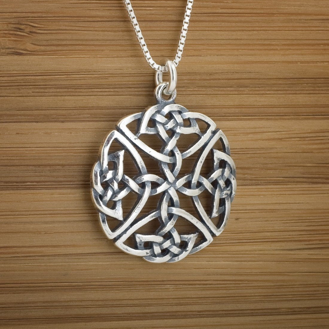 celtic shield knot pendant sterling silver by