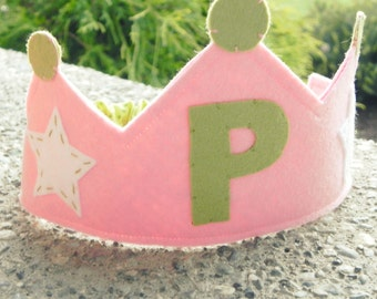 Pink and Green Personalized Birthday Crown