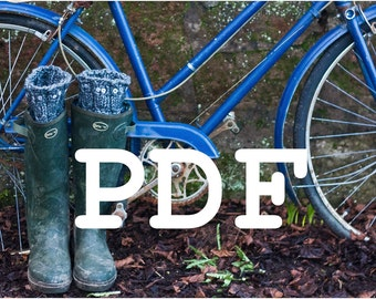 PDF PATTERN for the Owl Cable Leg  Boot Welly Warmers