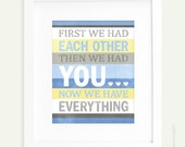 First We Had Each Other Art Print in blue yellow and grey