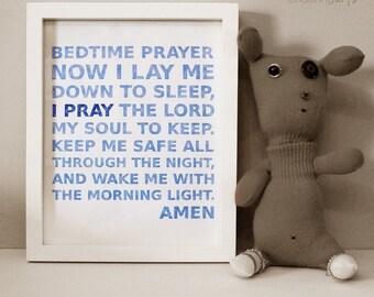 Cornflower Blue Typography Prayer Print for Children