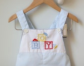 Blue and White Boy Short Overalls