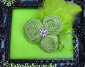 Lime Green Margarita Rolled Fabric Flower Trio Fascinator Hand Dyed Cotton Women Adult Teen Prom The Candied Rose Collection