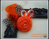 RESERVED Listing for ALICIA K. -2 Matching Orange Creamsicle Rolled Fabric Flower Wedding Brooch Pins Hand Dyed Kona Cotton