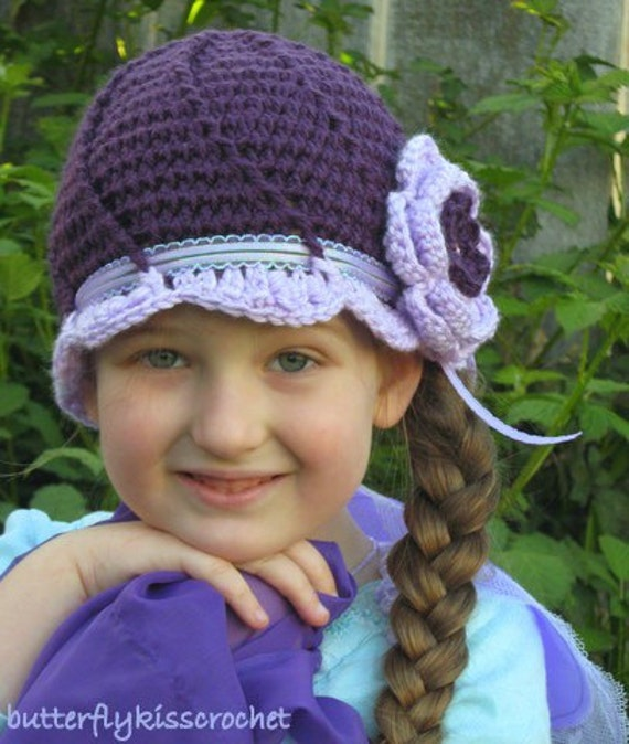 RESERVED ONLY FOR LivingforChrist 3T- 4T plum\/lavender spiral cloche hat with flower Purple Agathina Emperor Butterfly Collection made of SOFT ECO FRIENDLY POST CONSUMER RECYCLED YARN