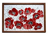 SALE - Decorative Stained glass painting - red silver poppies flowers - Glass Art made in israel