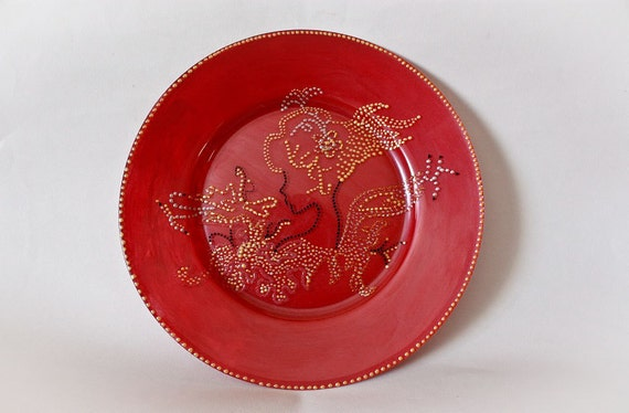 SALE Handmade Painting Glass Plate - Decorative 3D Dots Red Gold Summer Girl