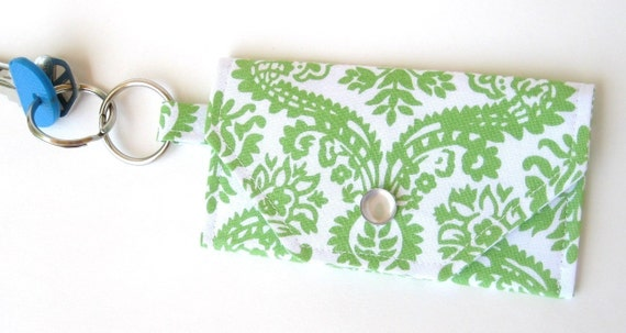 Last One - Damask in Lime - Mini Wallet Key Chain (Card Holder)