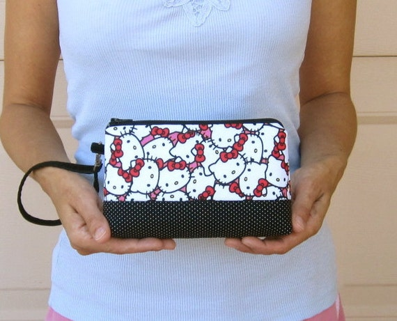 Cell Phone Wristlet Wallet - iPhone Blackberry Cell Phone and Card Holder -  Hello Kitty Sanrio