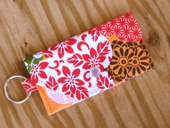 Last One Card Holder Wallet Keychain  - Cherry Blossom