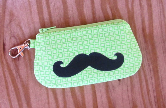Card Holder Zipper Wallet - Clip for Key Ring or Bag -  Mustache