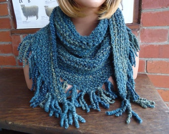 ocean blue turquoise triangle scarf wrap by irish granny