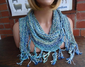 SPRING silky wrap green blue triangle scarf with fringes by irish granny