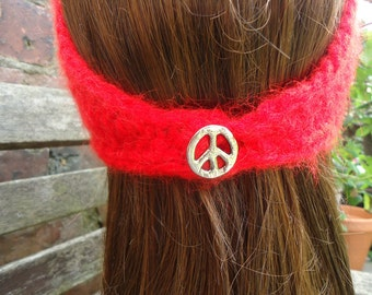 Red Peace vintage very soft feel angora look head wrap with silver symbol button