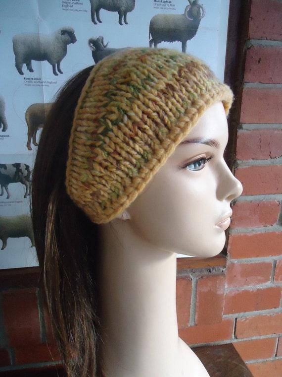 Scrappy yellow green tan head wrap bandana cap beanie by irish granny