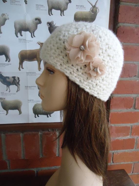 Cream wool crochet beanie hat with chiffon rhinestone flowers by Irish granny