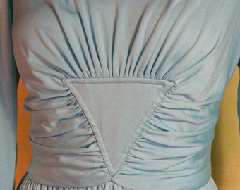 M L 60S Goddess Gown Space Age Aqua Blue Triangle Ruched Mardi Gras Dress