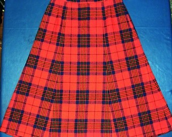S M 27 Waist 60s Vintage Pendleton Skirt Red Blue Wool Plaid Red Blue Yellow Tartan Plaid Mad Men