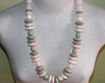 60s 70S Matte Plastic Necklace Big Chunky Beads Pink Green Cream Matte Disks Flying Saucer