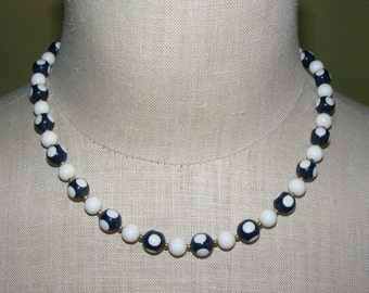 Blue White Bead Vintage Necklace Polka Dot Beads Choker Japan Plastic Nautical