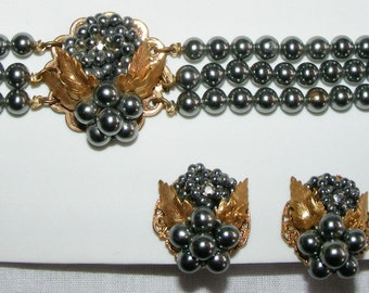 40s Choker Necklace Earrings Set Demi Dark Gray Faux Pearl Grape Clusters Vintage