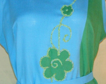 L 1960s Color Block Dress Costume Carol Brent Blue Green Linen Flowers Micro-mosaic Detail Flower Power