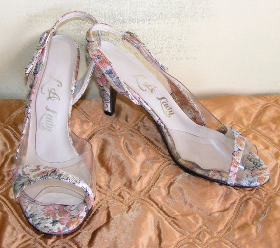 7.5M L. A. Lady Tapestry & Clear Vinyl Sling Back Shoes