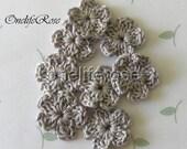 Crochet Flowers SILVER  GRAY