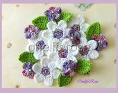 Crochet Flowers White Purple Violet