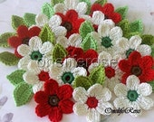 NATURE  Crochet Flowers 12 pieces with 12 leaves