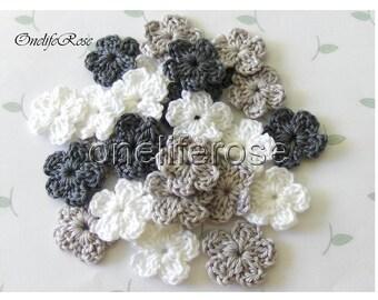 Crochet Flowers BLACK Gray
