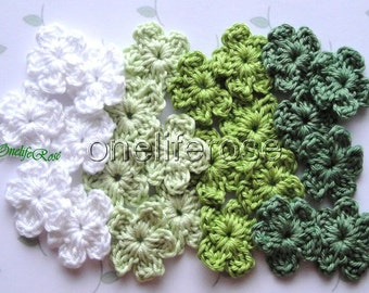 12 pcs Mini Crochet Flowers GREEN MIX