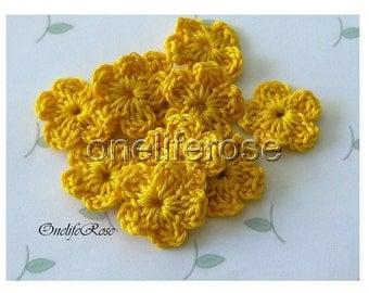 15 pieces Mini Crochet Flowers Sunyellow(00208)