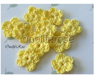 15 pcs. Mini Crochet Flowers YELLOWSS