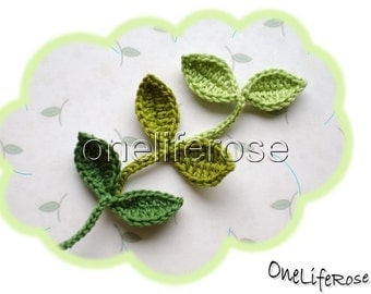 Crochet leaf with stem 1 piece