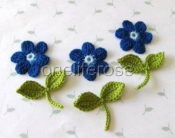 Crochet flowers and leaves with stems BLUE