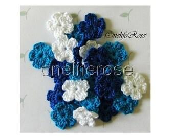 30 pieces Mini Crochet Flowers BLUESS