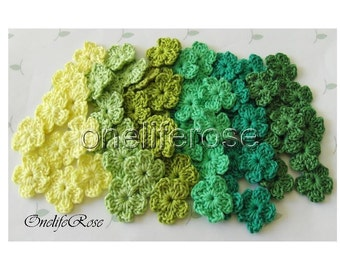 30 pieces Mini Crochet Flowers GREENSS